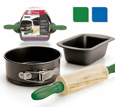 Children's Baking Set 3 Piece Set Includes Cake Tin  Loaf Tin and Rolling Pin