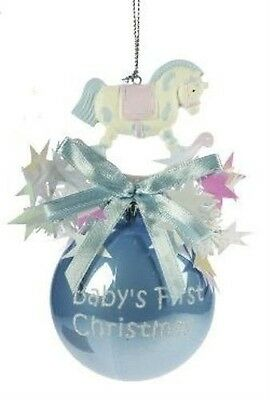 Baby's First Christmas Tree  Bauble with Rocking Horse (blue)5585  NEW  19591