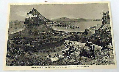 1893 magazine engraving ~ VIEW OF GIBRALTAR, View From Linea