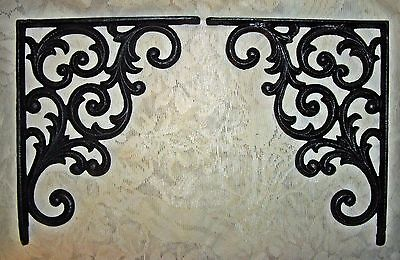 Set of 2 Scrolling Cast Iron Shelf Bracket Plant Hangers ~  Black Finish