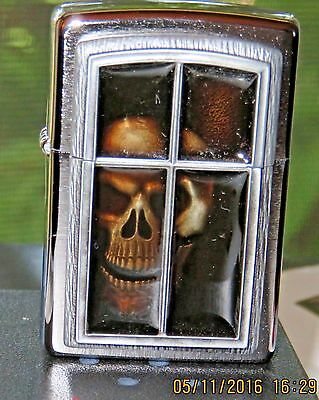 Zippo Ann Stokes Collectable ( Window Skull)  With New Soft Touch Emblem- New!!