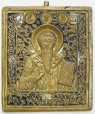 Old Antique Russian Bronze Icon of Saint Antipiy, 19th c