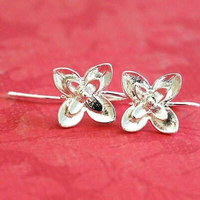 2 pairs Silver finish Four Leaf Flower Earwires