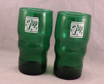 Pair Of Vintage Forest Green 7Up Drinking Glasses