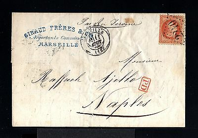 10240-FRANCE-COVER LETTER MARSEILLE to NAPLES (italy)1869.Napoleon.Carta FRANCIA
