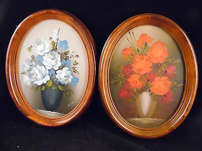 Pair Of Vintage 1960's Era Hand Painted Flower Pictures In Oval Wood Frames