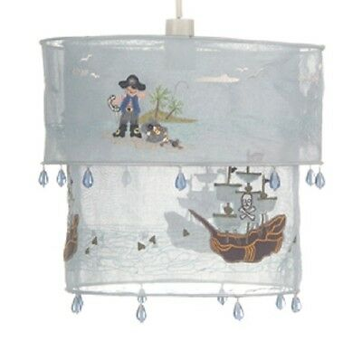 *NEW* 2 Tier Blue PENDANT LIGHT LAMP Shade PIRATE SHIPS Embroidered Cotton
