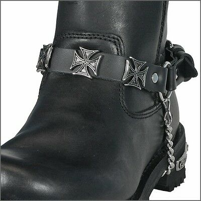 Maltese Iron Cross Leather Boot Strap with Buckle and Chain