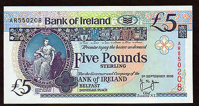 IMPRESSIVE 2000  £5  BANK OF IRELAND  UNC prefix AR