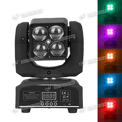 Rotating 4*10W Bright LED RGBW Moving Head Projector Stage Disco DJ Party Light