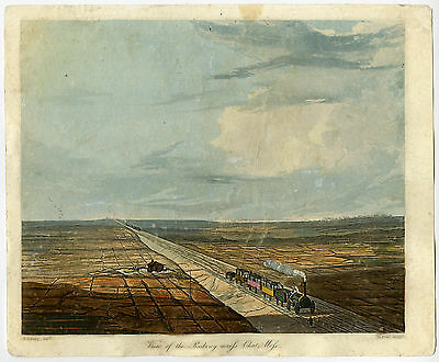 Antique Print-LANDSCAPE-RAILWAY-CHAT MOSS-SAFFORD-Bury-Pyall-ca. 1829