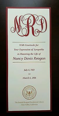 Funeral Card First Lady Nancy Reagan March 11, 2016 From Reagan Library Service