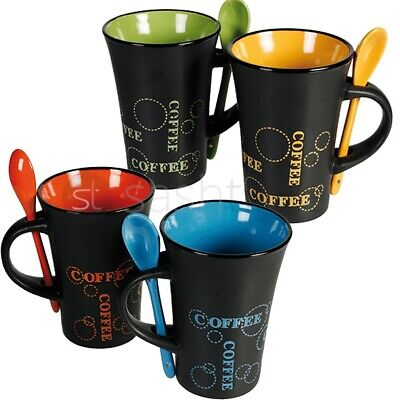 Livivo 4 X Coffee Mug W Spoon Tea Set Drink Latte Cups Ceramic Kitchen Espresso