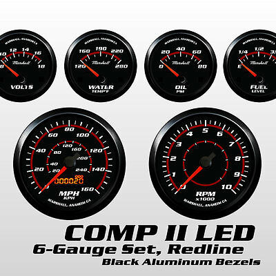 C2 Redline 6 Gauge Set, Black Bezels, 0-90 Ohm Fuel Level, Electric Speedo