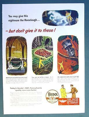 1946 Veedol Motor Oil Ad HORSELAUGH BUT DONT GIVE IN TO THESE CAR KILLERS