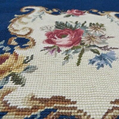 New Unused Vintage Floral Cartouche Handmade Petit+Needlepoint for Chair/Cushion