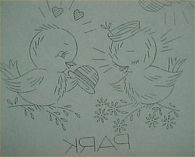Vintage Love Birds Bluebirds Transfer Pattern Embroidery Sewing Days of Week 30s