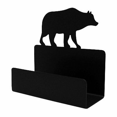 Bear Business Card Holder Wrought Iron Cabin Lodge Office Decor