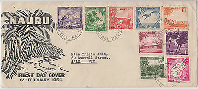 Stamps NAURU Central Pacific 1954 set of 9 pre-decimal inc 5/- on official FDC