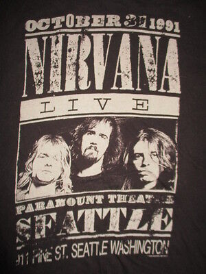 Nirvana LIVE October 31 1991 PARAMOUNT THEATRE Seattle (LG) T-Shirt KURT COBAIN
