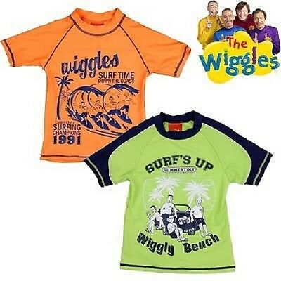 Brand New Genuine Licensed Wiggles Boys Rash Vest Swimwear Sizes  2, 3 Green