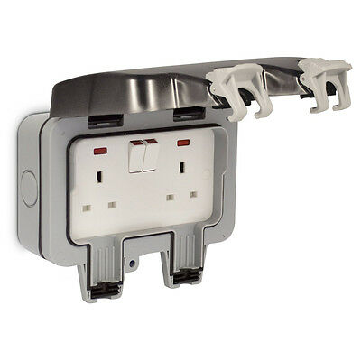 Masterplug BG WP22 13 A 2-Gang Storm Weatherproof Outdoor Switched Socket Double