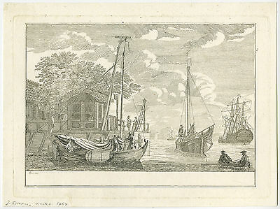Very rare Antique Master Print-LANDSCAPE-AMSTERDAM-IJ-TOLHUIS-Spaan-ca. 1760