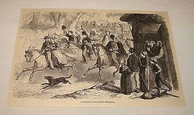 1886 magazine engraving ~ WEDDING CAVALCADE IN NORMANDY