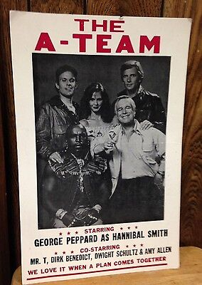 """vintage 1980S """"THE A-TEAM"""" CARDBOARD POSTER~21-1/4 X 14 INCHES~MR T handbill TV"""