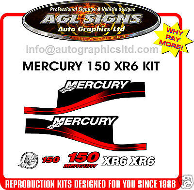 MERCURY 150 XR6  OUTBOARD DECAL  KIT reproduction