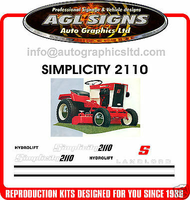 SIMPLICITY 2110 HYDROLIFT TRACTOR DECAL SET, reproduction