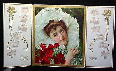 Youths Companion Magazine Calendar 1905 Advertising Litho Beauty in White &Roses