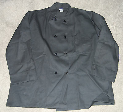 NEW PINNACLE MALE DOUBLE BREASTED PEARL BUTTON CHEF COAT SIZE 2X XXL Black