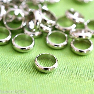 25pcs 6mm Antique Silver Smooth Brass Rings J0JXJ062