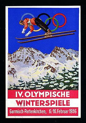 10867-GERMAN EMPIRE-Rare OFFICIAL Postcard OLYMPIC Winter GAMES.Garmsich.1936.DR