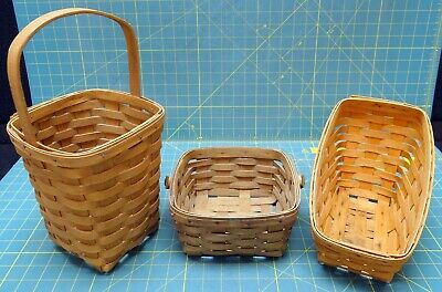 Lot of Three Longaberger Baskets 1983, 1985, 1994 Editions
