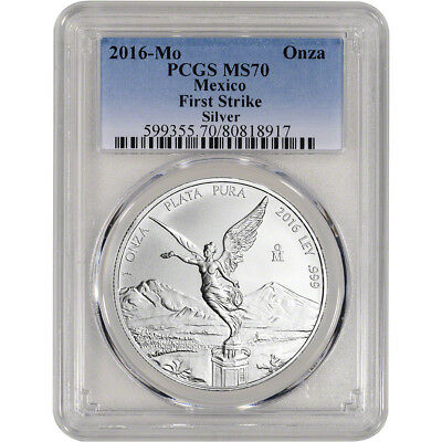 2016 Mexico Silver Libertad (1 oz) 1 Onza - PCGS MS70 First Strike Gradient Blue