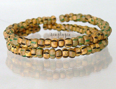"""6/0 Czech Matte Striped Picasso Aged Seed Beads 10"""" Strand Glass Beads"""