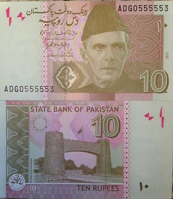 Pakistan 2015 10 Rupees Uncirculated Banknote P-New Sign From A Usa Seller !!!