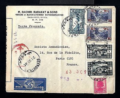 10824-LEBANON-AIRMAIL CENSOR COVER DAMASCUS to PARIS(france) 1944.WWII.Liban.