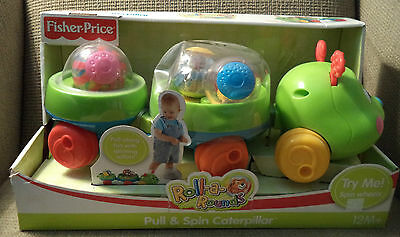 Fisher Price Roll A Rounds Pull & Spin Caterpillar *new*