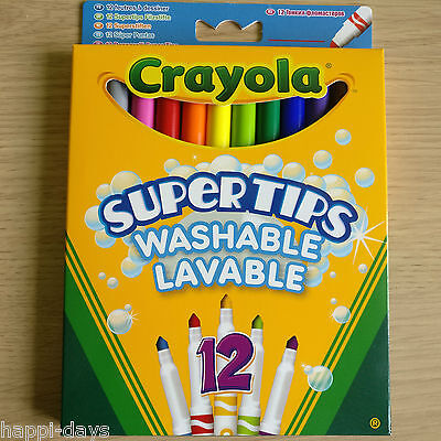 NEW - 12 CRAYOLA SUPERTIPS COLOUR MARKERS - Washable Felt Tip Pens