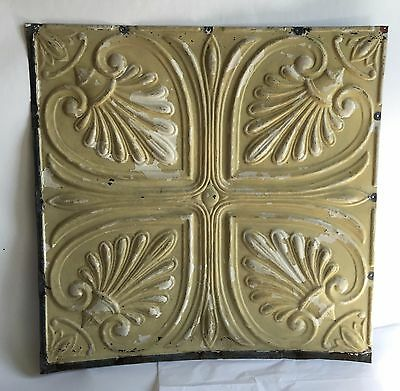 """1890's 24.5""""x 24.5"""" Antique Ceiling Tin Tile *See Our Videos* Reclaimed Tan C61"""