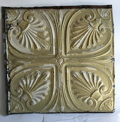 """1890's 24.5""""x 24.5"""" Antique Ceiling Tin Tile *See Our Videos* Reclaimed Tan C62"""