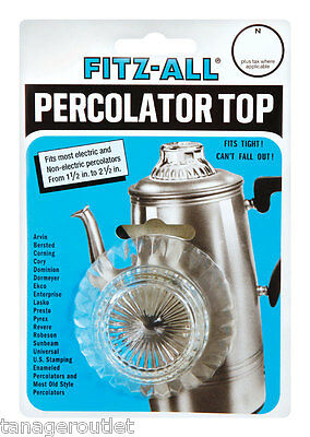 """TOPS Glass REPLACEMENT PERCOLATOR TOP Fits Opening From 1-1/2 """" - 2-1/2 """""""