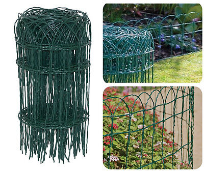 GARDEN BORDER FENCE 400mm x 10m PVC GREEN WIRE MESH EDGING EDGE LAWN FENCING