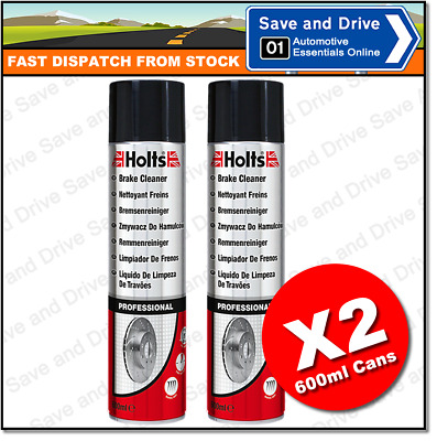 2 x Holts Professional Brake Clutch & Parts Cleaner Degreaser 600ml 100% Solvent