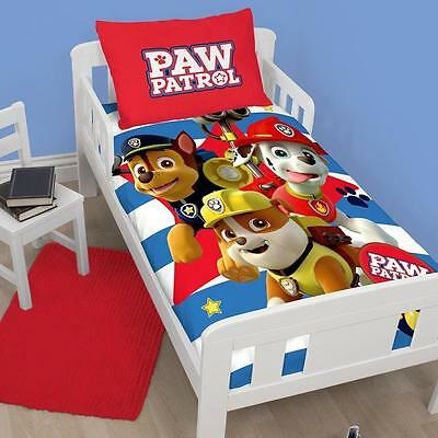 New Paw Patrol Pawsome Junior Toddler Cot Bed Size Duvet Quilt Cover Set Boys