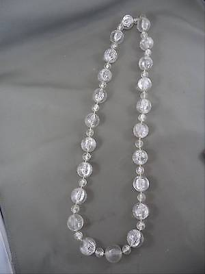 """Awesome Vintage Clear Plastic Bead Necklace Chunky Big """"Shattered Ice"""" Fun!!"""
