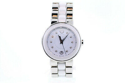 Ladies Movado 0606540 CERENA Stainless Steel & Ceramic Diamond Accented Watch